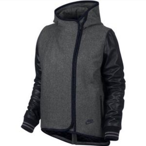 Nike Rival Hooded Wool Leather Jacket Oversized